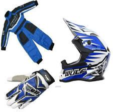 New Wulfsport Blue Kids Youth Motocross Helmet *ACU* Suit Gloves Bundle Kit