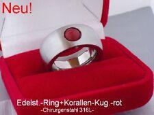 Neuer Edelstahl Ring Damen Korallen Kugel Perlen drehbar rot Bandring Silber 10