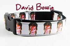 "David Bowie dog collar Handmade adjustable buckle collar 1"" wide or leash Rocker"