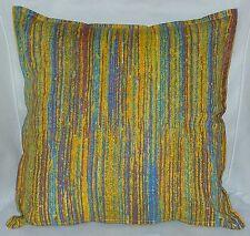 "Cushion Cover yellow multi stripe print 100% cotton zipped 18"" & 16"" -  FREE p&p"