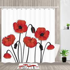Red corn poppy flower Shower Curtain Bathroom Decor Fabric & 12hooks 71x71in