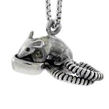 "Sterling Silver Opossum 3D Pendant / Charm, 18"" Italian Box Chain"