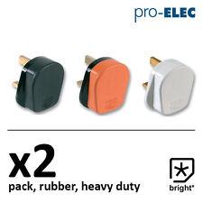 2 X 13 Amp Pro Elec tappo di gomma 13A Heavy Duty RETE ELETTRICA 3 PIN Nero