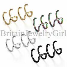 Pair 16G Stainless Steel Men Women Non-piercing Fake Clip-on Cartilage Earrings