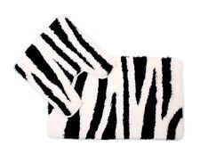 Luxury Non Slip Printed Animal Zebra Bath Mat Pedestal Mat Black White