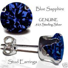 Men's or Lady's Sapphire Blue Sterling Silver Stud Earrings SEPTEMBER Birthstone