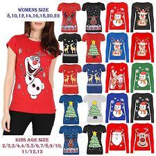 New Womens Kids Children Girls Novelty Vintage Retro Christmas Xmas Top T shirt