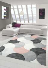 Designer und Moderner Teppich Kurzflor mit Tropfen Muster in Rosa Grau Beige