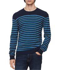 Calvin Klein Mens Three Tone Striped Pullover Sweater