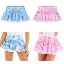 Sissy Women Men Lace Hem Skirt Fancy Dress Gingham A-line Pleated Mini Skirt