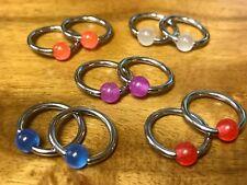 "PAIR Captive Bead Rings UV, Glow, Glitter, Marble -Nipple, Ear Piercing 14g 1/2"""