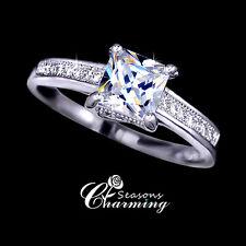 18K White Gold P Classic Design Cubic Zirconia Stone Wedding Ring RRP:$69