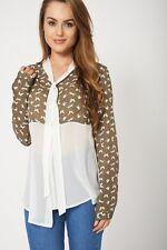 Women's Fashion Modish Khaki Butterfly Print Long Sleeve Chiffon Ladies Blouse