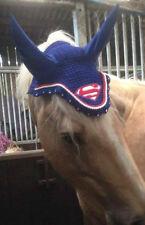 Superman cheval respirant coton oreille bonnet/net/masque/cagoule crochet fly veil tack