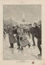 Men and Ladies Ice Skating German Antique Art Print
