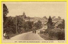 cpa VILLAGE de SAINT AUBIN des COUDRAIS (Sarthe) Arrivée par LA FERTÉ Animée