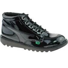 Niñas Niños Kickers Kick Hi Charol Negro Con Encaje Zapatos Escolares kf0000409