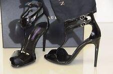 New RALPH LAUREN Collection BLINIRA Black Leather Ankle Str Sandals Shoes 37 39