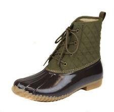 Jambu Women's Army Green Brown Stefani Duck Boot Shoes Ret $80 New