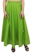 Bimba Women's Cotton Green Skirt Gota Patti Design Drawstring Tassel Waist