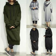 UK Stock Women Sweatshirt Dress Casual Plain Hoodies Hooded Oversize Shirt Dress