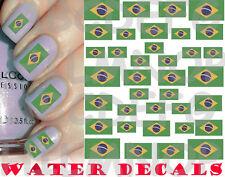 WATER DECALS BANDIERA BRASILE UNGHIE NAIL ART ADESIVI BRAZIL FLAG STICKERS TATTO