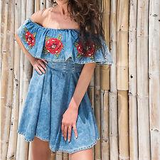 By Alina Damenkleid Jeanskleid Minikleid Strandkleid Sommerkleid Carmen XXS-S
