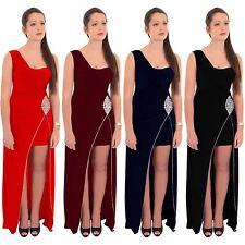 Ladies One Shoulder Diamante Waist Trim Padded Split Slinky Bodycon Maxi Dress