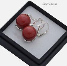 * Pendientes de Perlas * 925 hecha con cristales de Swarovski 10/12/14mm - Coral Rojo