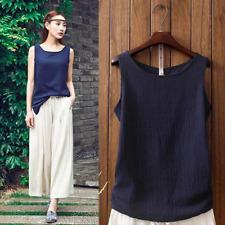 Women Cotton Linen Vest Tank Top Summer Scoop Neck Sleeveless Blouse Base Shirt