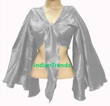 Silver - Satin Tie Top Belly Dance Flair Wrap Choli Gypsy Haut Danse Blouse