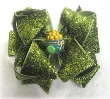 Glitter Hairbows Girls Glitter bows St. Patricks Irish Pot of Gold Green Bow