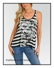 Wet Seal Foil Print Striped Punk Rock Tee Shirt Gothic Cami Tank Top Tunic Shirt