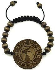 World Bracelet New Good Wood Style Adjustable Pull Cords Macrame 10mm Wood Beads