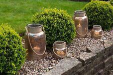 Gold Lustre Glass Hurricane Lantern Rope Handle. Sm/Med/Lg T-Light Candle Gift