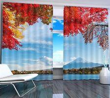 Volcano Mountain Fuji 3D Blockout Photo Printing Curtains Draps Fabric Window