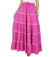 bimba der lange flaired Baumwollrock rosa boho Böden elastische Taillen