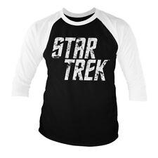 Con licencia oficial de Star Trek el logotipo de efecto envejecido béisbol 3/4 Manga Camiseta S-XXL