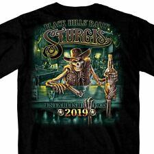 2019 Sturgis Shirt Motorcycle Black Hills Rally Skeleton Saloon Black T #1784
