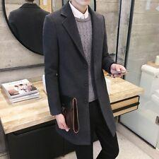 Men's Slim Trench Coat Dust Jacket Woolen Single Breasted Overcoat Lapel Thicken