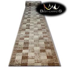 Moderne Tapis couloir entrée + base beige carreaux escaliers 60-120CM Extra Long