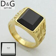Dg Men's Gold.Stainless Steel Wedding Black Onyx Ring Size 7 8 9 10 11,12,13 Box