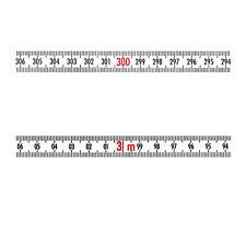 Skalenbandmaß Stahl rechts - links 10mm weiß Duplex selbstklebend 0,30m bis 20m