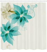 Teal Shower Curtain Vintage Floral Elements Print for Bathroom