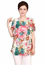 Women Flower Printed Chiffon Top T Shirt Blouse Loose Short Sleeve Blouse UK