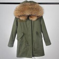 Womens Large Real Raccoon Fur Collar Hood Parka Warm Jacket Coat Winter Overcoat