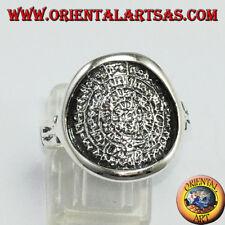 Anello in argento con  Disco di Festo il calendario Greco antico di  4000 anni