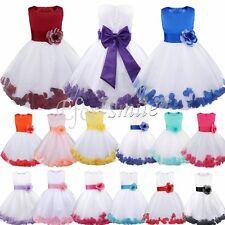 Mädchen Kids Partykleid Abendkleid Sommerkleid Mit Rose Taille Formal Gr. 92-164
