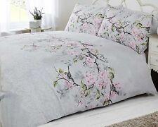 bird blossom floral duvet quilt cover bedding set grey pink & duck egg blue