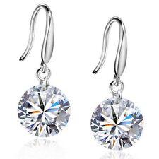 Clásico plata de ley 925 colgante diamante pendientes de estilo varias opciones